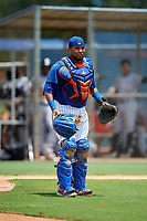 GCL Mets catcher Jose Mena (38) during a game against the GCL Marlins on August 3, 2018 at St. Lucie Sports Complex in Port St. Lucie, Florida.  GCL Mets defeated GCL Marlins 3-2.  (Mike Janes/Four Seam Images)