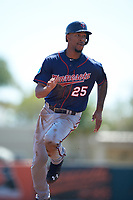 Minnesota Twins center fielder Byron Buxton (25) running the bases during a Spring Training game against the Baltimore Orioles on March 7, 2016 at Ed Smith Stadium in Sarasota, Florida.  Minnesota defeated Baltimore 3-0.  (Mike Janes/Four Seam Images)