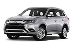 Stock pictures of low aggressive front three quarter view of 2020 Mitsubishi Outlander-PHEV Business 5 Door SUV Low Aggressive