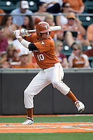 Texas Longhorns shortstop Brandon Loy #10 at bat against the Texas A&M Aggies in NCAA Big XII Conference baseball on May 21, 2011 at Disch Falk Field in Austin, Texas. (Photo by Andrew Woolley / Four Seam Images)