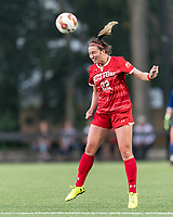 NEWTON, MA - AUGUST 29: Elle Conlin #22 of Boston University heads the ball during a game between Boston University and Boston College at Newton Campus Field on August 29, 2019 in Newton, Massachusetts.