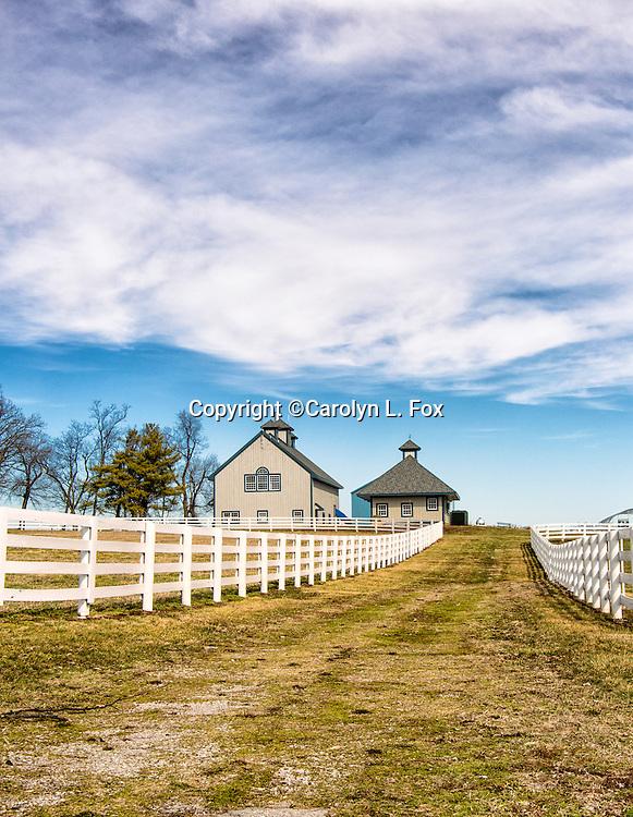 A white fence leads down a path towards farm buildings.