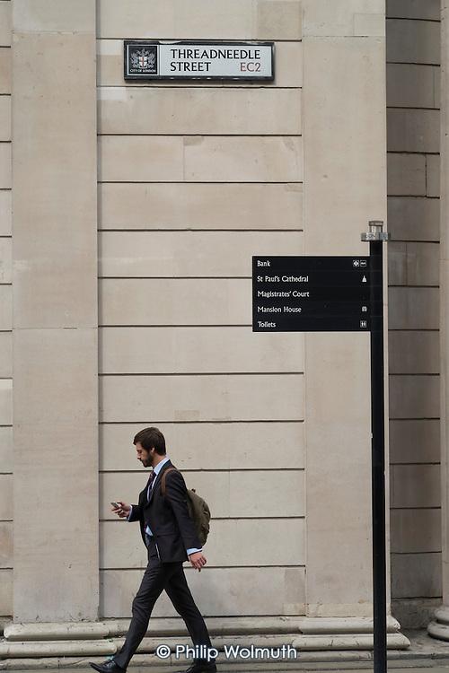 Street signpost to Bank of England, Threadneedle Street, City of London.