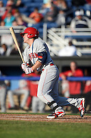 Auburn Doubledays outfielder Greg Zebrack (3) at bat during a game against the Batavia Muckdogs on June 14, 2014 at Dwyer Stadium in Batavia, New York.  Batavia defeated Auburn 7-2.  (Mike Janes/Four Seam Images)