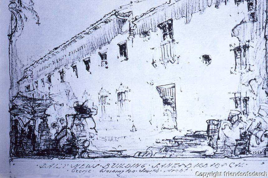 Santa Barbara: Sketch of the Daily News Building by George Washington Smith, Architect. Photo Dec. 1987.