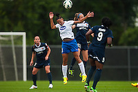 Boston Breakers forward Lianne Sanderson (10) goes up for a header with Sky Blue FC midfielder Manya Makoski (22). Sky Blue FC and the Boston Breakers played to a 0-0 tie during a National Women's Soccer League (NWSL) match at Yurcak Field in Piscataway, NJ, on July 13, 2013.