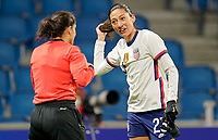 LE HAVRE, FRANCE - APRIL 13: Christen Press #23 of the United States during a game between France and USWNT at Stade Oceane on April 13, 2021 in Le Havre, France.
