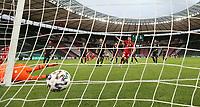 Remote , Hintertor , Hintertorkamera , Bayer Torwart , Torhüter , Goalkeeper , Lukáš Hrádecký , Lukas Hradecky , Tor , Treffer , 1:0 , FCB David Alaba , Freistoß , Freistoßtor , <br /> <br /> firo, Sport, Fussball, Pokalfinale: Saison 2019/2020, 04.07.2020<br /> DFB-Pokal Finale der Herren<br /> Bayer Leverkusen - FC Bayern München , Muenchen<br /> <br /> Foto: <br /> Jürgen Fromme / firosportphoto / POOL / Marc Schueler / Sportpics.de<br /> <br /> Nur für journalistische Zwecke! Only for editorial use!