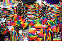 Pictured: Rainbow themed hats, bows and accessories. Saturday 04 May 2019<br /> Re: Swansea Pride Parade in south Wales, UK.