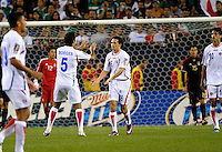 Costa Rica's Marco Ureña gets congratulations from Celso Borges (5) after scoring Costa Rica's only goal.  Mexico defeated Costa Rica 4-1 at the 2011 CONCACAF Gold Cup at Soldier Field in Chicago, IL on June 12, 2011.