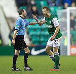 Hibs v St Johnstone....21.12.13    SPFL<br /> Jordon Forster berates ref Alan Muir for not awarding a penalty<br /> Picture by Graeme Hart.<br /> Copyright Perthshire Picture Agency<br /> Tel: 01738 623350  Mobile: 07990 594431