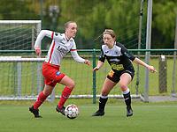 Ella Vierendeels (4) of Zulte-Waregem and Wilhelmina Pellens (41) of Eendracht Aalst in action during a female soccer game between SV Zulte - Waregem and Eendracht Aalst on the 9 th matchday in play off 2 of the 2020 - 2021 season of Belgian Scooore Womens Super League , saturday 22 nd of May 2021  in Zulte , Belgium . PHOTO SPORTPIX.BE   SPP   DIRK VUYLSTEKE