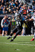Jacksonville Jaguars Yannick Ngakoue (91) rushes during an NFL Wild-Card football game against the Buffalo Bills, Sunday, January 7, 2018, in Jacksonville, Fla.  (Mike Janes Photography)