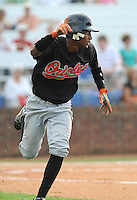 August 1, 2009: Infielder Javier Santana (12) of the Bluefield Orioles, rookie Appalachian League affiliate of the Baltimore Orioles in a game at Howard Johnson Field in Johnson City, Tenn. Photo by: Tom Priddy/Four Seam Images
