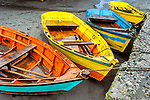 Colorful wooden boats docked in southern Chile