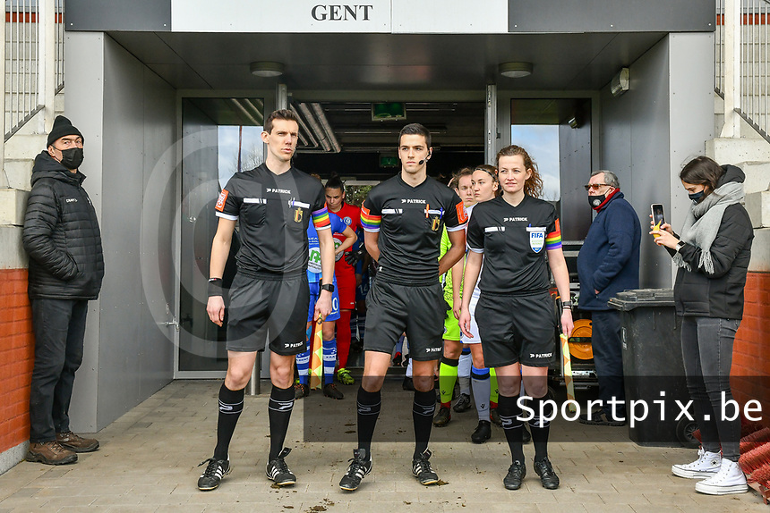 assistant referee Glenn Lakiere , referee Bert Verbeke , assistant referee Joline Delcroix wearing rainbow colors to support the holebi community pictured before a female soccer game between  AA Gent Ladies and Club Brugge YLA on the 16th matchday of the 2020 - 2021 season of Belgian Scooore Womens Super League , saturday 13 th of March 2020  in Oostakker , Belgium . PHOTO SPORTPIX.BE | SPP | STIJN AUDOOREN