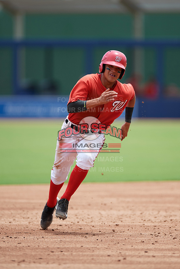 GCL Nationals designated hitter Jose Sanchez (8) running the bases during the second game of a doubleheader against the GCL Mets on July 22, 2017 at The Ballpark of the Palm Beaches in Palm Beach, Florida.  GCL Mets defeated the GCL Nationals 4-1.  (Mike Janes/Four Seam Images)