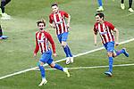 Atletico de Madrid's Antoine Griezmann, Saul Niguez and Stefan Savic celebrate goal during La Liga match. March 19,2017. (ALTERPHOTOS/Acero)