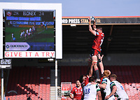 24th April 2021; Kingsholm Stadium, Gloucester, Gloucestershire, England; English Premiership Rugby, Gloucester versus Newcastle Falcons; Lewis Ludlow of Gloucester wins the lineout ball