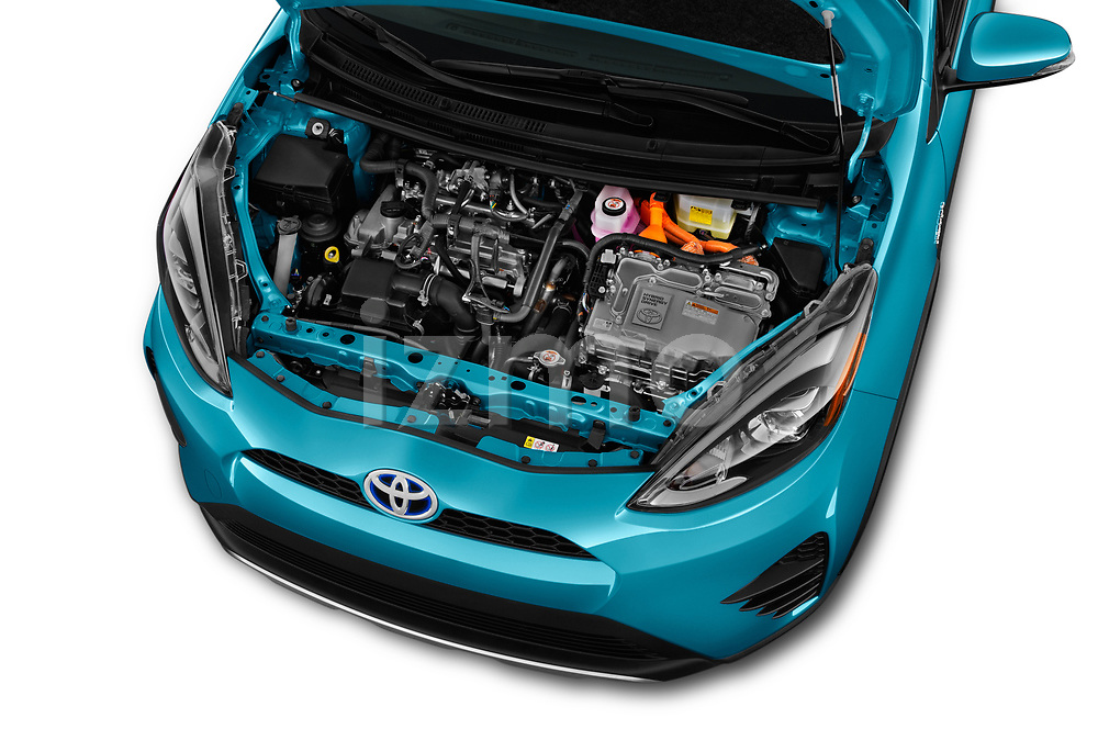 Car stock 2018 Toyota Prius c One 5 Door Hatchback engine high angle detail view