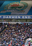 Blackburn Rovers 2 Aston Villa 0, 21/11/2010. Ewood Park, Premier League. Blackburn Rovers fans seated in the Darwen End at Ewood Park watching their team playing Aston Villa in a Barclays Premier League match. Blackburn won the match by two goals to nil watched by a crowd of 21,848. It was Rovers' first match under the ownership of Indian company Venky's. Photo by Colin McPherson.