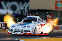 Jul. 26, 2013; Sonoma, CA, USA: NHRA funny car driver Jack Beckman during qualifying for the Sonoma Nationals at Sonoma Raceway. Mandatory Credit: Mark J. Rebilas-