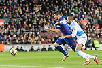 Luis Suarez of FC Barcelona (L)  in action against Sidnei da Silva Junior of RC Deportivo La Coruna (R) during the La Liga 2017-18 match between FC Barcelona and Deportivo La Coruna at Camp Nou Stadium on 17 December 2017 in Barcelona, Spain. Photo by Vicens Gimenez / Power Sport Images
