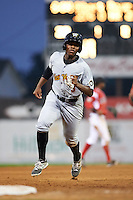 West Virginia Black Bears third baseman Ke'Bryan Hayes (3) running the bases during a game against the Batavia Muckdogs on August 31, 2015 at Dwyer Stadium in Batavia, New York.  Batavia defeated West Virginia 5-4.  (Mike Janes/Four Seam Images)