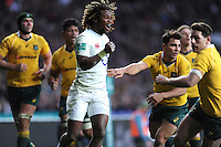 Marland Yarde of England celebrates Ben Youngs of England's try during the Old Mutual Wealth Series match between England and Australia at Twickenham Stadium on Saturday 3rd December 2016 (Photo by Rob Munro)