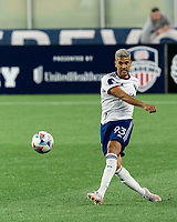 FOXBOROUGH, MA - APRIL 24: Antonio Alfaro #93 of D.C. United clears the ball during a game between D.C. United and New England Revolution at Gillette Stadium on April 24, 2021 in Foxborough, Massachusetts.