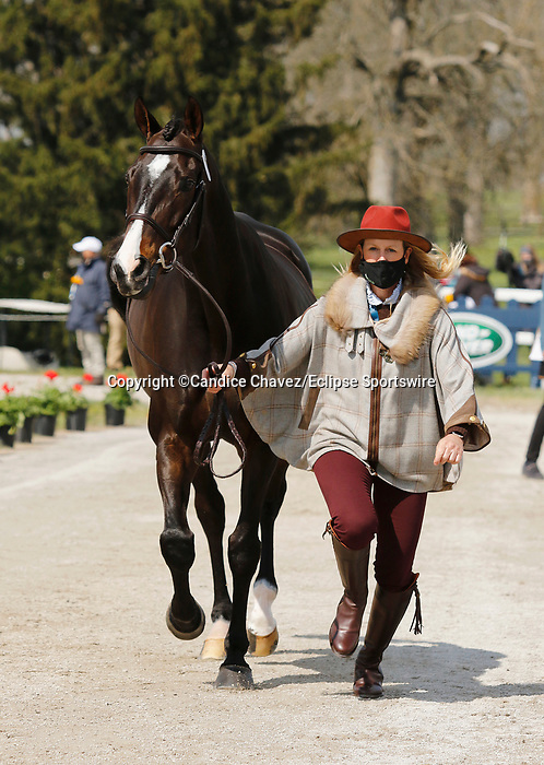 April 21, 2021: 52 Business Ben and rider Allison Springer from the USA in the first horse veterinary inspection at the Land Rover Three Day Event at the Kentucky Horse Park in Lexington, KY on April 21, 2021.  Candice Chavez/ESW/CSM