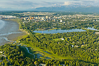 Aerial view of the city of Anchorage, Alaska and Cook Inlet