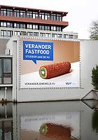 Nederland Amsterdam 2018 . De Vrije Universiteit ( VU ). Verander Fastfood, studeer aan de VU.  Foto Berlinda van Dam / Hollandse Hoogte
