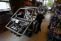 Electric car Kewet Buddy being produced at a factory in Oslo, Norway, by ElBil Norge AS (Ltd.) . Fully charged the car can run for about 80 km on flat terrain. Though considered a car by most people, the vehicle actually has to be registered as a motorcycle.© Fredrik Naumann