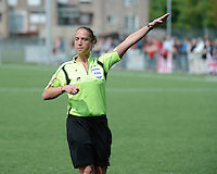 20140419 - ANTWERPEN , BELGIUM : Referee Sharon Sluyts pictured during the soccer match between the women teams of RAFC Antwerp Ladies  and Standard Femina  , on the 24th matchday of the BeNeleague competition on Saturday 19 April 2014 in Deurne .  PHOTO DAVID CATRY