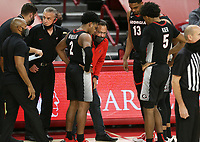 Georgia head coach Tom Crean talks to players, Saturday, January 9, 2021 during the second half of a basketball game at Bud Walton Arena in Fayetteville. Check out nwaonline.com/210110Daily/ for today's photo gallery. <br /> (NWA Democrat-Gazette/Charlie Kaijo)
