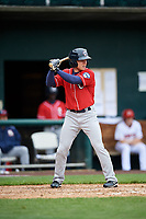 New Hampshire Fisher Cats right fielder Andrew Guillotte (1) at bat during the first game of a doubleheader against the Harrisburg Senators on May 13, 2018 at FNB Field in Harrisburg, Pennsylvania.  New Hampshire defeated Harrisburg 6-1.  (Mike Janes/Four Seam Images)