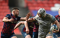 5th February 2021; Ashton Gate Stadium, Bristol, England; Premiership Rugby Union, Bristol Bears versus Sale Sharks; Curtis Langdon of Sale Sharks hands off Andy Uren of Bristol Bears