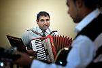 Branislav Jovanov plays the accordion during a worship service of the United Methodist Roma congregation in Jabuka, Serbia..