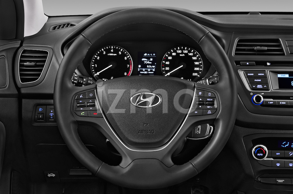 Car pictures of steering wheel view of a 2016 Hyundai i20 ACTIVE Pop 5 Door Hatchback Steering Wheel