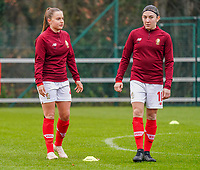 Davinia Vanmechelen (25 Standard) and Noemie Gelders (10 Standard) pictured during the warm up before a female soccer game between Standard Femina de Liege and RSC Anderlecht on the 9th matchday of the 2020 - 2021 season of Belgian Scooore Womens Super League , saturday 12 th of December 2020  in Angleur , Belgium . PHOTO SPORTPIX.BE | SPP | SEVIL OKTEM