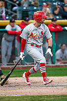 Dean Anna (11) of the Memphis Redbirds at bat against the Salt Lake Bees in Pacific Coast League action at Smith's Ballpark on May 24, 2016 in Salt Lake City, Utah. The Bees defeated the Redbirds 7-5. (Stephen Smith/Four Seam Images)