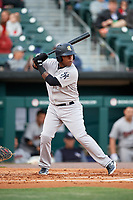 Scranton/Wilkes-Barre RailRiders shortstop Rey Navarro (12) at bat during a game against the Buffalo Bisons on May 18, 2018 at Coca-Cola Field in Buffalo, New York.  Buffalo defeated Scranton 5-1.  (Mike Janes/Four Seam Images)