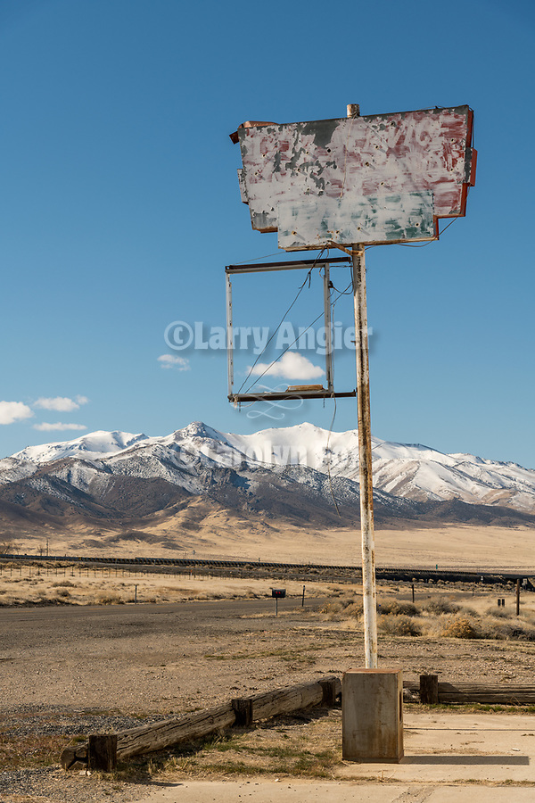 Sign at abandoned store  along the I-80 frontage road, Imlay, Nevada
