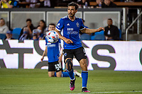 SAN JOSE, CA - AUGUST 13: Oswaldo Alanis #4 of the San Jose Earthquakes dribbles the ball during a game between San Jose Earthquakes and Vancouver Whitecaps at PayPal Park on August 13, 2021 in San Jose, California.