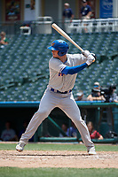 Midland RockHounds Jonah Heim (13) bats during a Texas League game against the Frisco RoughRiders on May 21, 2019 at Dr Pepper Ballpark in Frisco, Texas.  (Mike Augustin/Four Seam Images)