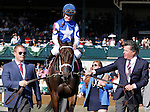LEXINGTON, KY - APRIL 16: Connections with #8 Tepin and jockey Julien Leparoux after winning the 28th running of the Coolmore Jenny Wiley (Grade 1) $350,000 at Keeneland race course for owner Robert E. Masterson, and trainer Mark Casse.  April 16, 2016 in Lexington, Kentucky. (Photo by Candice Chavez/Eclipse Sportswire/Getty Images)