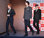 Yoonhak, Geonil and Sungje(Choshinsung, Supernova, Aug 30, 2013 : Tokyo, Japan : (L-R)Yunhak, Geonil and Sungje of Korean boy band Supernova attend a press conference for new promotion video of Lotte Duty Free shop in Tokyo, Japan, on August 30, 2013.