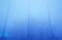 Italy, Venice, Basilica San Marco in the fog with blue tones. Piazza San Marco