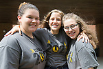 May 17, 2017- Tuscola, IL- The 2017 Hornet Track & Field state qualifiers. From left are Meadow Picazo (discus), Brynn Tabeling (400 meter run), and Marissa Russo (discus). [Photo: Douglas Cottle]